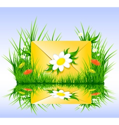 Letter or sms in grass spring summer style vector