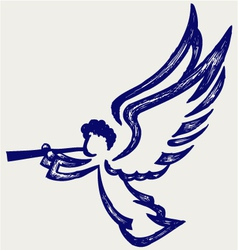 Angel with trumpet vector