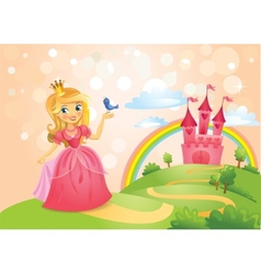 Fairy tale castle and beautiful princess vector