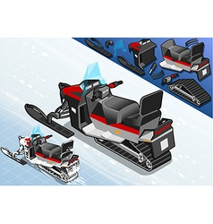 Isometric snowmobile in rear view vector