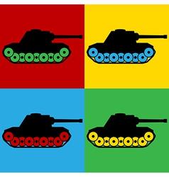 Pop art panzer icons vector