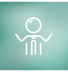 Businessman raising his arms thin line icon vector