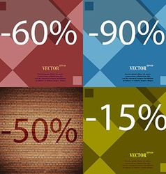 90 50 15 icon set of percent discount on abstract vector