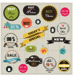 Big set of stickers and ribbons vector