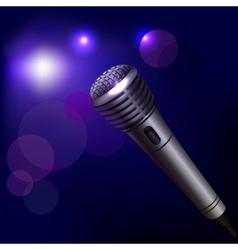 Microphone emblem on dark background vector