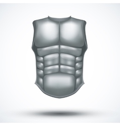 Silver ancient gladiator body armor vector