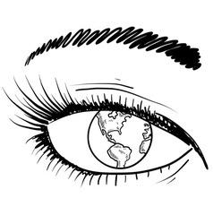 Doodle eye iris earth vector