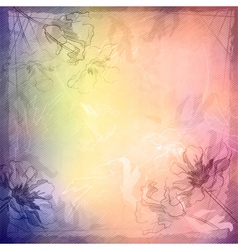 Grunge vintage sketch flowers background vector