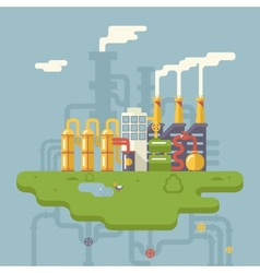 Retro flat factory refinery plant manufacturing vector