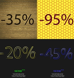95 250 45 icon set of percent discount on abstract vector