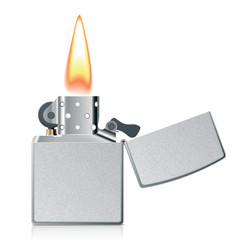 Lighter with flame vector