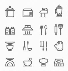 Kitchen symbol line icon set vector