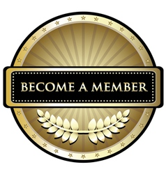 Become a member gold label vector
