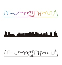 Paris v2 skyline linear style with rainbow vector