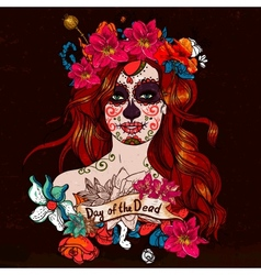 Girl with sugar skull day of the dead vector