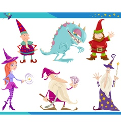 Cartoon fantasy characters set vector