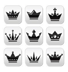 Crown royal family buttons set vector
