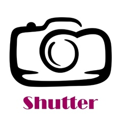 Doodle sketch camera with the word shutter vector