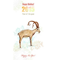 Invitation card with watercolor painting of goat vector