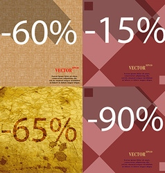 15 65 90 icon set of percent discount on abstract vector
