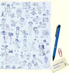 Set of kids drawing - childish style picture vector