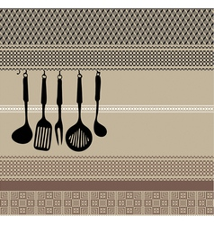 Rack of kitchen utensils vector