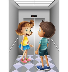 A girl and a boy talking inside the elevator vector