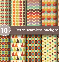 10 retro seamless background vector