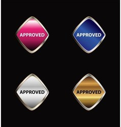 Approved tag button set vector