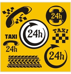 Taxi symbols and elements for taxi emblem - set vector