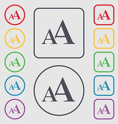 Enlarge font aa icon sign symbol on the round and vector