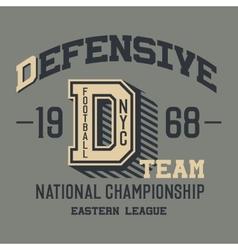 Defensive football team t-shirt vector