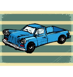 Vintage background with retro car vector
