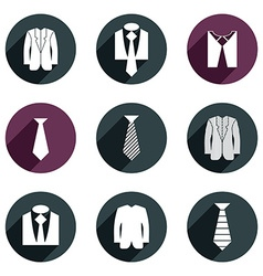 Man business clothes icons set vector