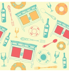 Vintage dinner wine pattern vector