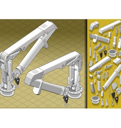 Isometric mechanical arm in two positions vector