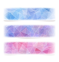Set of geometric banners with polygonal pattern vector