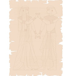 Papyrus with egyptian couple vector
