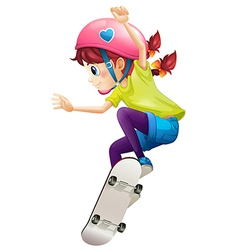 A lady with a pink helmet skateboarding vector
