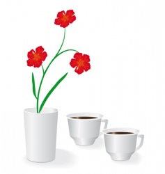 Flowers and two cups of coffee vector