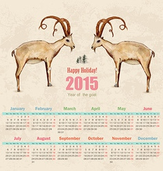 Calendar for 2015 watercolor painting of goat vector