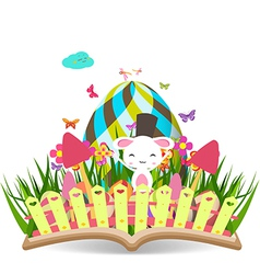 Easter egg spring with grass and flowering in the vector