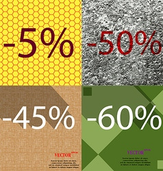 50 45 60 icon set of percent discount on abstract vector