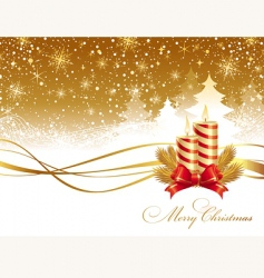Christmas landscape and candles vector