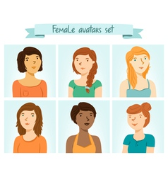 Female avatars set vector