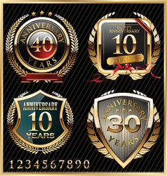 Anniversary golden labels vector