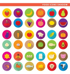 Food icons shadow vector