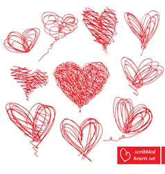 Set of 10 scribbled hand-drawn sketch hearts vector