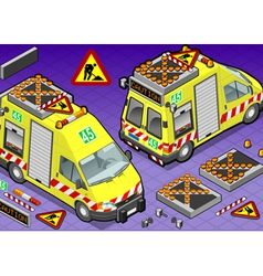 Isometric roadside assistance truck vector