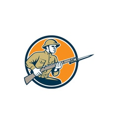 World war one soldier american retro circle vector